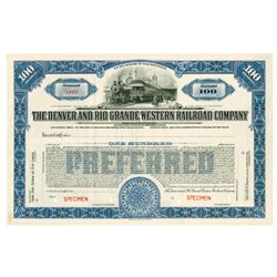 Denver and Rio Grand Western Railroad Co., 1924 Specimen Stock Certificate