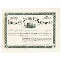 Winchester Avenue R.R. Co., 1896 Cancelled Stock Certificate