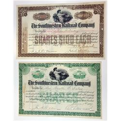 Southwestern Railroad Co., 1897-1903 Pair of Stock Certificates