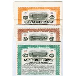Gary Street Railway Co., 1917 Specimen Bond Trio.