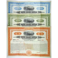 Wabash Railway Co. 1926 Specimen Bond Trio