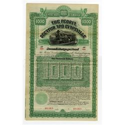 Peoria, Decatur and Evansville Railway Co., 1886 Specimen Bond.