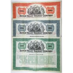 Boyer Valley Railway Co., 1898 Specimen Bond Trio.