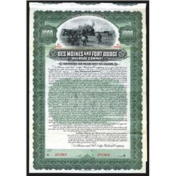 Des Moines and Fort Dodge Railroad Co., 1905, Specimen 4% Gold Coupon Bond.