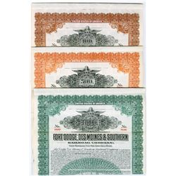 Fort Dodge, Des Moines & Southern Railway Co., 1913 Specimen Bond Trio.