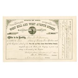 West Hill and West Avenue Street Railway Co., 1875 Issued Stock Certificate