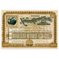Kansas City and Pacific Railroad Co. 1887 Stock Certificate.