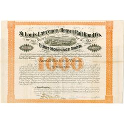 St. Louis, Lawrence and Denver Rail Road Co., 1870 Issued Bond