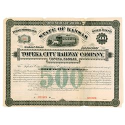 Topeka City Railway Co., 1881, $500 Specimen Gold Bond.