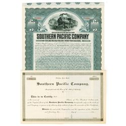 Southern Pacific Co., ca.1890-1909 Specimen Bond and Stock Certificate