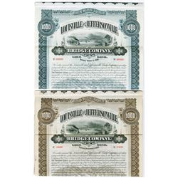Louisville & Jeffersonville Bridge Co. 1893 & 1895 Specimen Bond Pair.