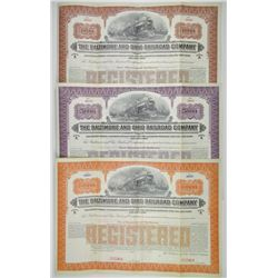"Baltimore and Ohio Railroad Co., Toledo-Cincinnati Division, 1917 ""Series A"" Specimen Bond Trio"
