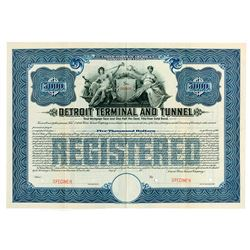 Detroit Terminal and Tunnel, 1911 Specimen Registered 4 1/2% Gold Bond.