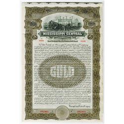 Mississippi Central Railroad Co., 1909 Specimen Bond