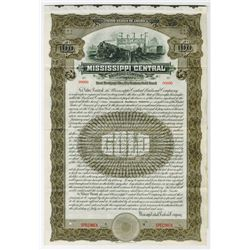 Mississippi Central Railroad Co., 1909 Specimen Bond