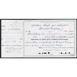 Northern Pacific and Montana Railroad Co. 1897 Stock Certificate.