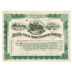 Atlantic City & Shore Railroad Co., 1909 Cancelled Stock Certificate