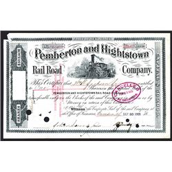 Pemberton & Hightstown Co. 1909 Stock Certificate.