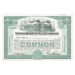 General Railway Signal Co., ca.1920-1930 Specimen Stock Certificate