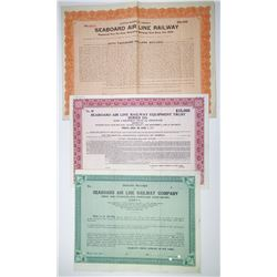 Seaboard Air Line Railway Trio of Specimen Bonds, ca.1910-1940