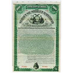Syracuse Street Railroad Co., 1895 Specimen Bond