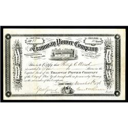 Tramway Power Co., 1876 Stock Certificate.