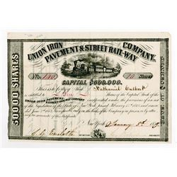 Union Iron Pavement & Street Railway Co., 1859 Stock Certificate.