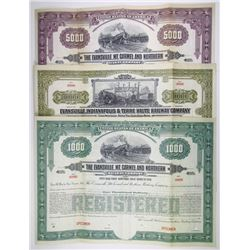 Various Indiana Railways, 1910-1920 Specimen Bond Trio.