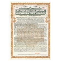 Receiver Certificate of Pittsburgh, Shawmut & Northern Railroad Co. 1907 Specimen Bond