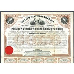 Chicago & Canada Southern Railway Co., 1872 Issued and Uncancelled bond.