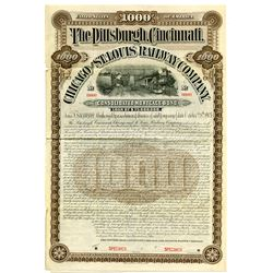 Pittsburgh, Cincinnati, Chicago and St. Louis Railway Co., 1903 Specimen 4% Gold Coupon Bond Rarity.