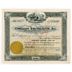Oregon Trunk Line, Inc., 1909 Stock Certificate.