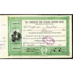 Lancaster & Reading Narrow Gauge Railroad Co. 1900 Stock Cert.