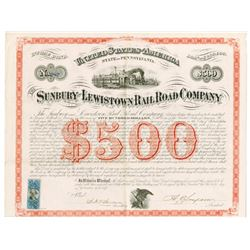 Sunbury and Lewistown Rail Road Co., 1871 issued Bond