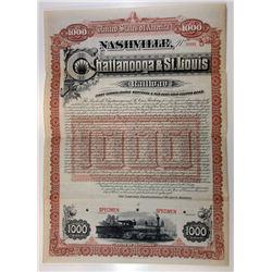 Nashville, Chattanooga & St. Louis Railway, 1888 Specimen Bond.