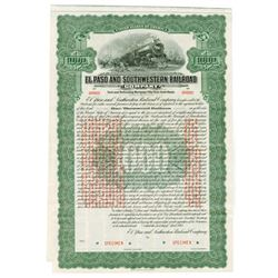 El Paso and Southwestern Railroad Co., 1915 Specimen Bond