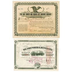 Fort Worth & Denver City Railway Co. Pair of Cancelled Stock Certificates ca.1899-1900
