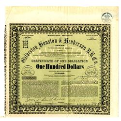 Galveston, Houston & Henderson Rail Road Co. 1857 with $40 Share Stock Attached.