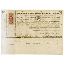 Houston & Great Northern Railroad Co. of Texas, 1871 Stock Certificate