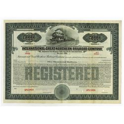 International-Great Northern Railroad Co. 1922 Specimen Bond.
