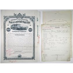 Kansas & Gulf Short Line Railroad Co., 1881 Unique Approval Proof Bond Certificate + Production File