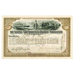 Seattle and San Francisco Railway and Navigation Co., 1902 Issued Stock Certificate