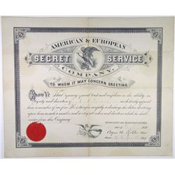 American & European Secret Service Co., 1879 Issued Certificate