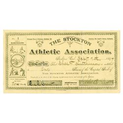 Stockton Athletic Assoc., 1894 Stock Certificate, Serial #1 - Baseball, Hunting, Tennis Images.