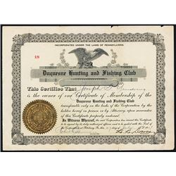 Duquesne Hunting and Fishing Club, 1908 Membership Certificate.
