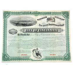 City of Cincinnati, ca.1881 Specimen Bond