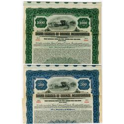 Sugar Estates of Oriente, Inc., 1922 Specimen Bond Pair.