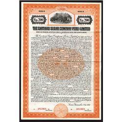 Cartavio Sugar Company (Peru) Limited, 1921 Specimen Stock Certificate.
