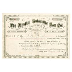 Manakin Automatic Doll Co., 1884 Issued Stock Certificate