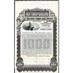 New York and Queens Electric Light and Power Co., 1900 Specimen Bond.